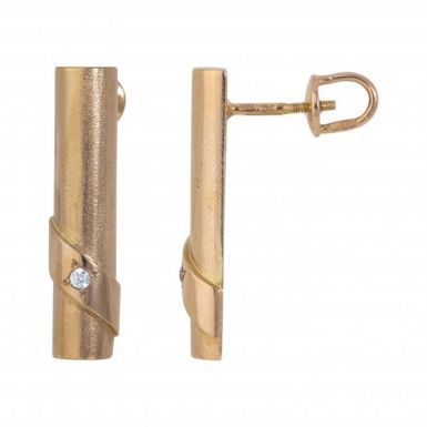 Pre-Owned 14ct Rose Gold Gemstone Set Bar Drop Earrings