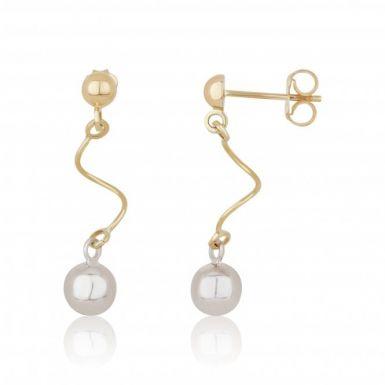New 9ct 2 Colour Gold Swirl & Ball Drop Earrings