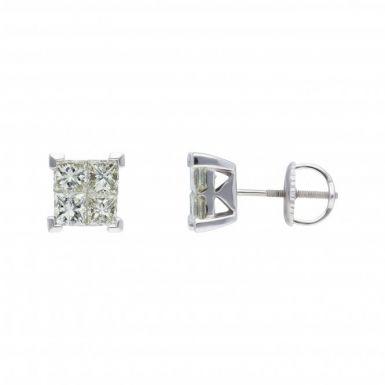 New 18ct White Gold 1.50ct Princess Cut Diamond Stud Earrings