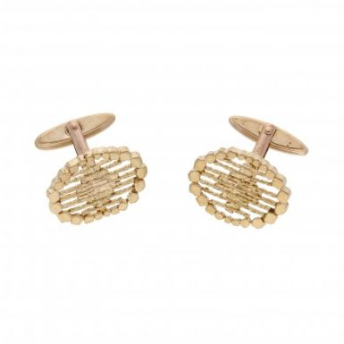 Pre-Owned 9ct Yellow Gold Cutout Patterned Oval Cufflinks