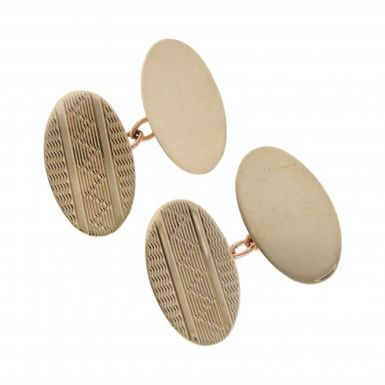 Pre-Owned 9ct Yellow Gold Patterned Oval Cufflinks