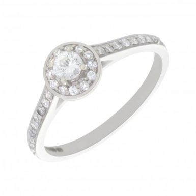 New 9ct White Gold 0.37ct Diamond Round Halo Solitaire Ring