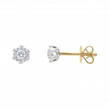 New 9ct Yellow Gold Diamond Set Stud Earrings