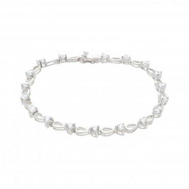 New Sterling Silver Cubic Zirconia Set Ladies Bracelet
