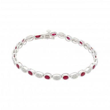 New 9ct White Gold Ruby & Diamond Ladies Bracelet