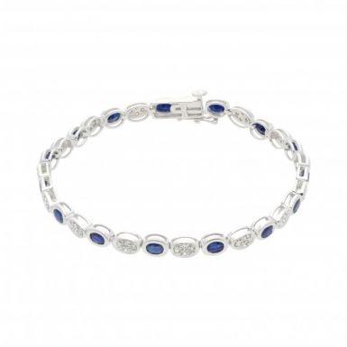 New 9ct White Gold Sapphire & Diamond Ladies Bracelet