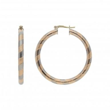 Pre-Owned 9ct Yellow & White Gold Fancy Hoop Creole Earrings