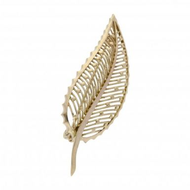 Pre-Owned 9ct Yellow Gold Leaf Brooch