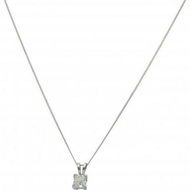 New 18ct White Gold 1.01 Carat Diamond Pendant & Chain Necklace