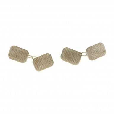 Pre-Owned 9ct Yellow Gold Patterned Cufflinks