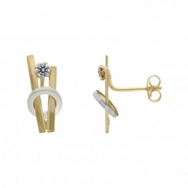 New 9ct Yellow & White Gold Cubic Zirconia Stud Earrings