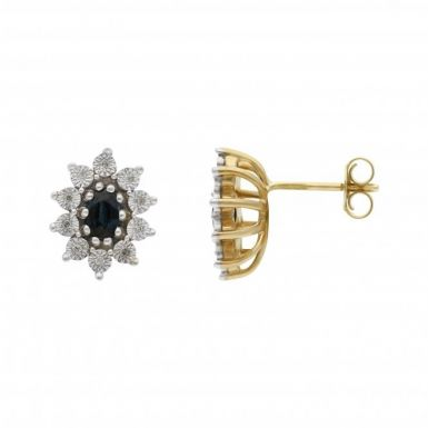 New 9ct Yellow & White Gold Sapphire & Diamond Cluster Earrings