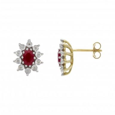 New 9ct Yellow Gold Ruby & Diamond Oval Cluster Stud Earrings