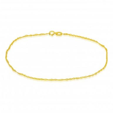 New 9ct Yellow Gold 9 Inch Twisted Curb Anklet