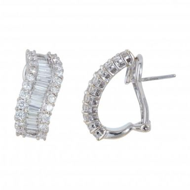 Pre-Owned 18ct White Gold 2.00 Carat Diamond Wave Earrings