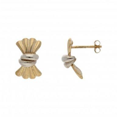 Pre-Owned 9ct Yellow & White Gold Fan Stud Earrings
