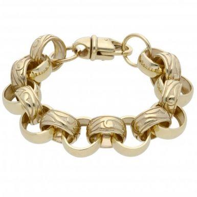 New 9ct Gold 9Inch Heavy Pattern & Polish Belcher Bracelet 1.6oz