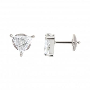 Pre-Owned 18ct White Gold 2.16 Carat Trilliant Diamond Earrings