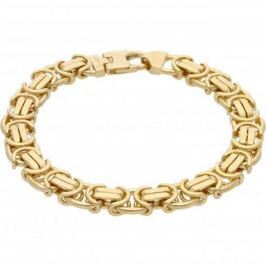 New 9ct Gold 8.5  Heavy Flat Byzantine Link Mens Bracelet 1.3oz