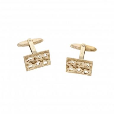 Pre-Owned 9ct Yellow Gold Cutout Patterned Cufflinks