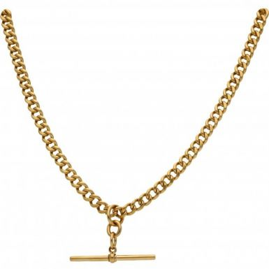 Pre-Owned 14ct Yellow Gold Albert Chain & T-Bar Pendant Necklace