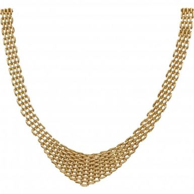Pre-Owned 9ct Yellow Gold 16 Inch Graduated Fancy Link Necklet