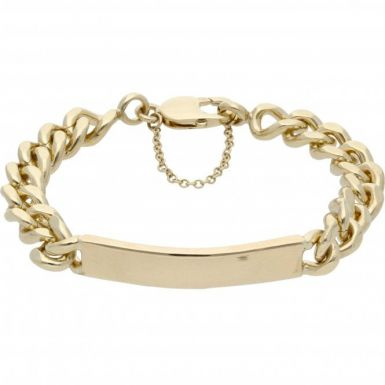 Pre-Owned 9ct Yellow Gold Heavy Curb Identity Bar Bracelet