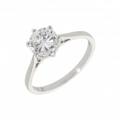 New 18ct White Gold 1.42 Carat Diamond Solitaire Ring