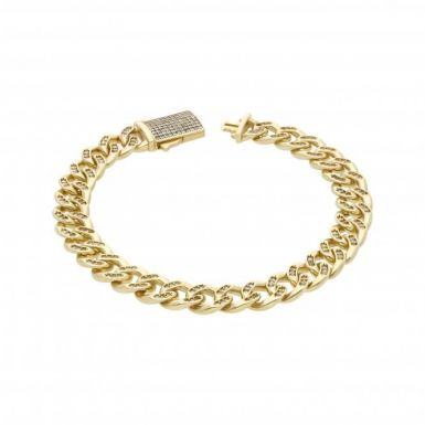 New 9ct Gold Heavy Cubic Zirconia Mens Cuban Curb Bracelet 1.2oz