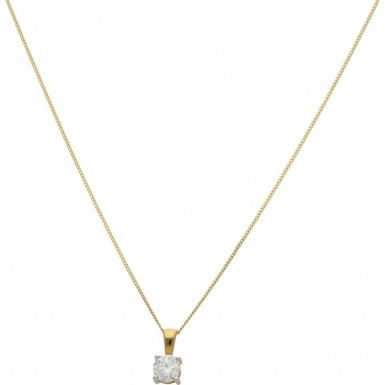 New 18ct Yellow Gold 0.50ct Diamond Solitaire Pendant & Necklace