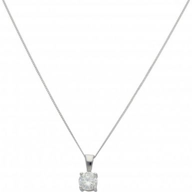 New 18ct White Gold 1.00ct Diamond Solitaire Pendant & Necklace