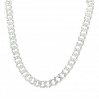 New Sterling Silver Cubic Zirconia 24 Inch Cuban Curb Necklace