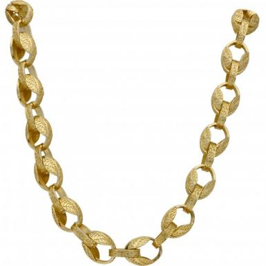 New 9ct Gold Heavy 26 Inch Patterned Tulip Link Chain 3.4oz