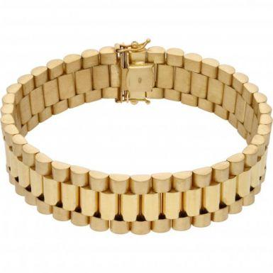 New 9ct Yellow Gold Heavy Rolex Style 8 Inch Mens Bracelet 1.4oz