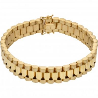 New 9ct Yellow Gold Heavy Rolex Style 8 Inch Mens Bracelet 1.1oz