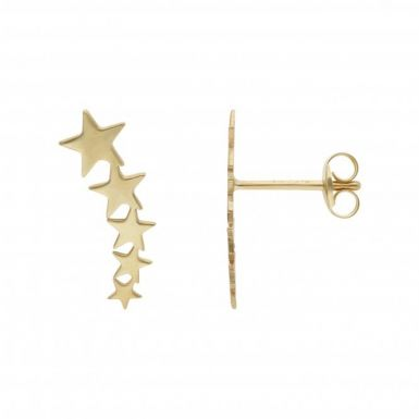 New 9ct Yellow Gold Comet Star Stud Climber Earrings