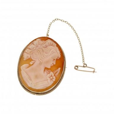 Pre-Owned 9ct Yellow Gold Cameo Brooch