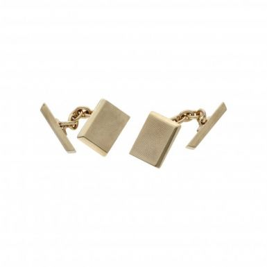 Pre-Owned 9ct Yellow Gold Patterned Rectangle Cufflinks