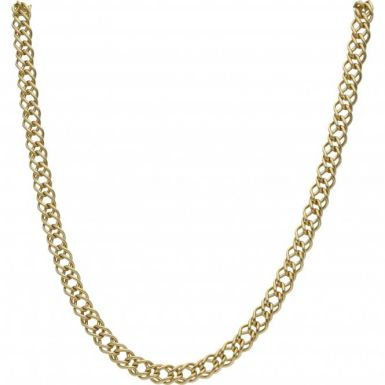 Pre-Owned 9ct Yellow Gold 19 Inch Double Curb Chain Necklace