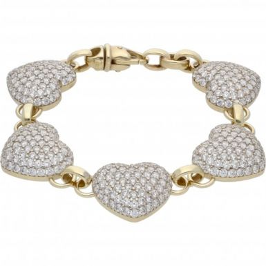 New 9ct Gold Cubic Zirconia 7.5 Inch Heart Bracelet 26g