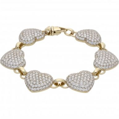 New 9ct Gold Cubic Zirconia 8 Inch Heart Bracelet 29.4g