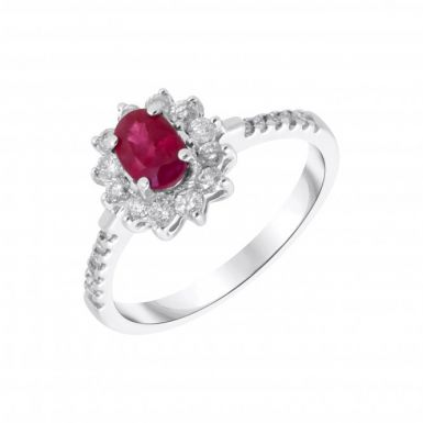 New 9ct White Gold Ruby & Diamond Cluster Ring