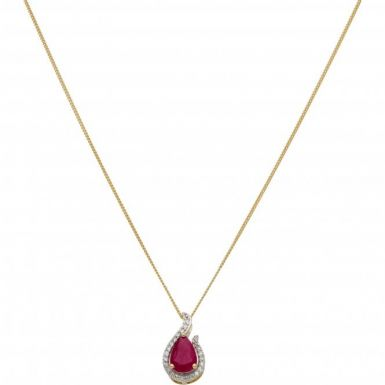 New 9ct Gold Ruby & Diamond Pear Shaped Pendant & Necklace