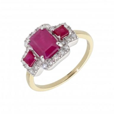 New 9ct Gold Triple Ruby & Diamond Vintage Style Cluster Ring