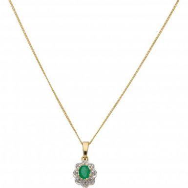 "New 9ct Yellow Gold Emerald & Diamond Pendant & 18"" Necklace"