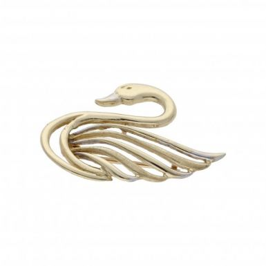 Pre-Owned 9ct Yellow & White Gold Swan Brooch