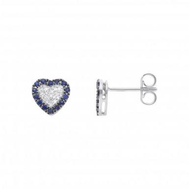 New 18ct White Gold Sapphire & Diamond Heart Stud Earrings
