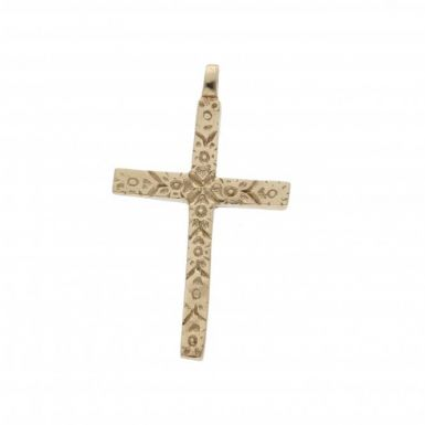 Pre-Owned 9ct Yellow Gold Patterned Cross Pendant