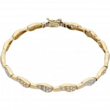 Pre-Owned 18ct Gold Cubic Zirconia Set Fancy Wave Bracelet