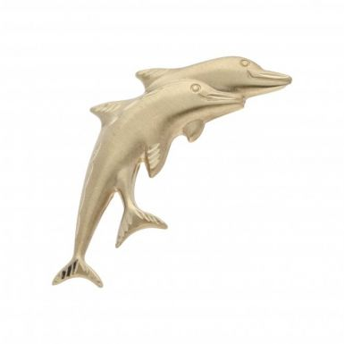 Pre-Owned 9ct Yellow Gold Hollow Double Dolphin Brooch